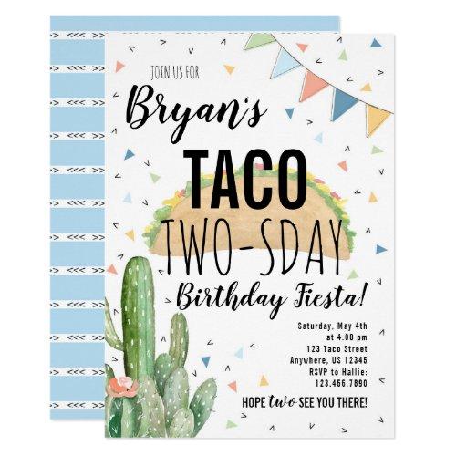 Taco Twosday Birthday Invitation for Boy