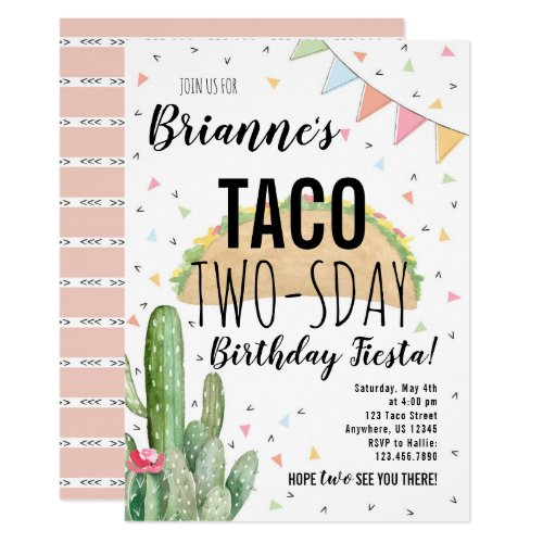 Taco Twosday Birthday Invitation for Girl