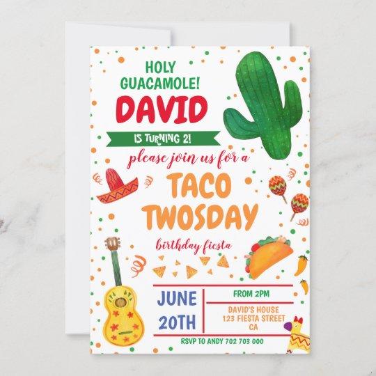 Taco Twosday Boy Birthday Fiesta Cactus Mexican Invitation