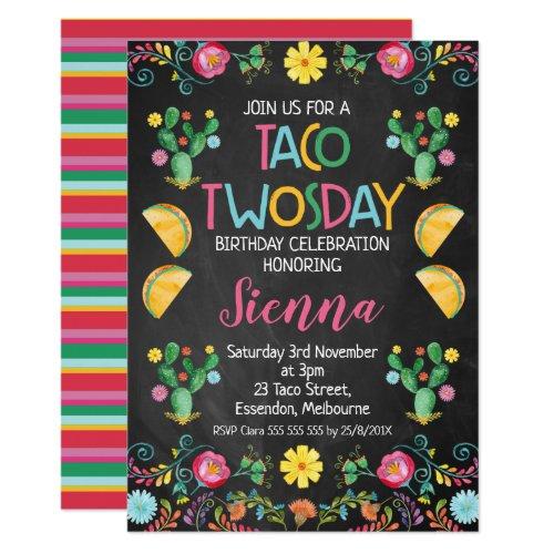 Taco Twosday Mexican 2nd Birthday Invitation