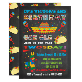 Taco Twosday Tuesday Mexican Fiesta 2nd Birthday Card