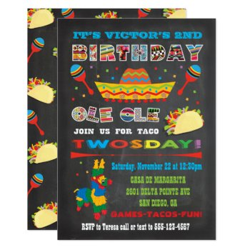 Taco Twosday Tuesday Mexican Fiesta 2nd Birthday Card by McBooboo at Zazzle