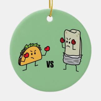 Taco vs burrito ceramic ornament