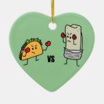 Taco vs Burrito Ornaments