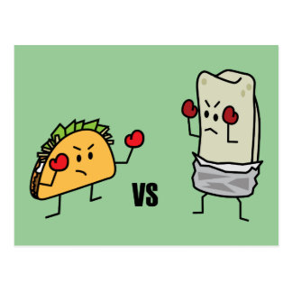 Taco vs Burrito Postcard