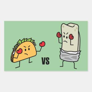 Taco vs Burrito Rectangular Sticker