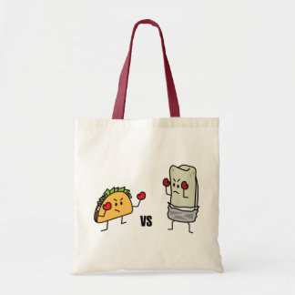Taco vs burrito tote bag