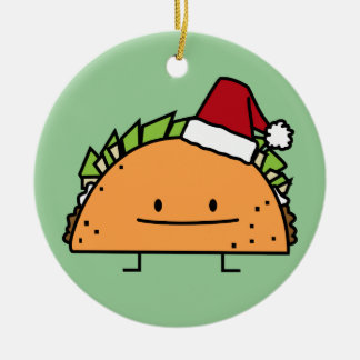 Taco wearing Santa Hat Christmas shell meat salsa Ceramic Ornament