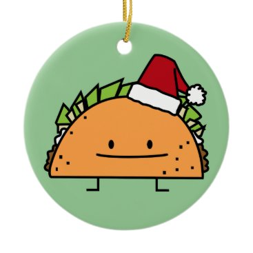 Christmas Themed Taco wearing Santa Hat Christmas shell meat salsa Ceramic Ornament