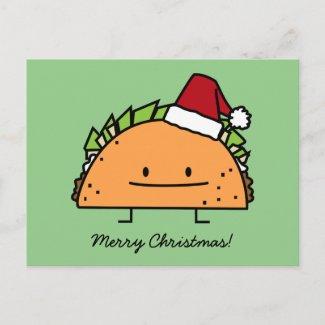 Taco wearing Santa Hat Christmas shell meat salsa Holiday Postcard