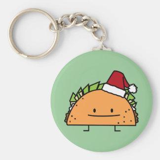 Taco wearing Santa Hat Christmas shell meat salsa Keychain
