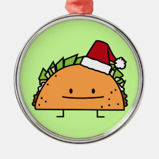 Taco wearing Santa Hat Christmas shell meat salsa Metal Ornament