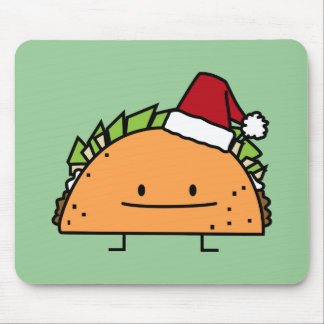 Taco wearing Santa Hat Christmas shell meat salsa Mouse Pad
