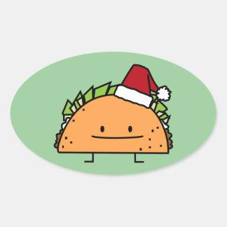 Taco wearing Santa Hat Christmas shell meat salsa Oval Sticker