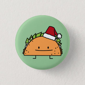Taco wearing Santa Hat Christmas shell meat salsa Pinback Button