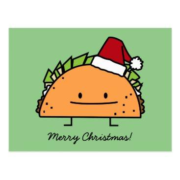 Christmas Themed Taco wearing Santa Hat Christmas shell meat salsa Postcard