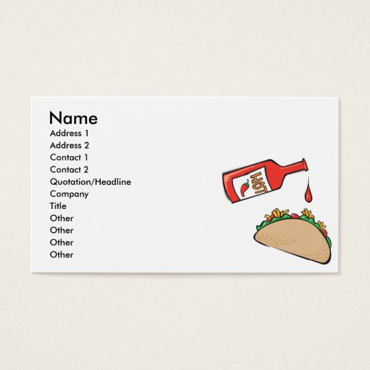 taco with hot sauce business card