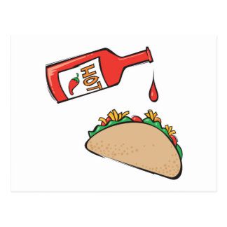 taco with hot sauce postcard