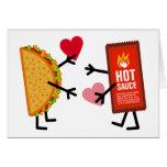 Taco y salsa caliente - corazones lindos del el tarjeta de felicitación