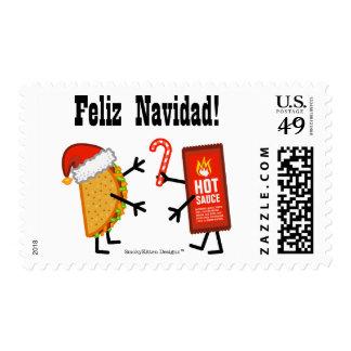 ¡Taco y salsa caliente - Feliz Navidad! Sello