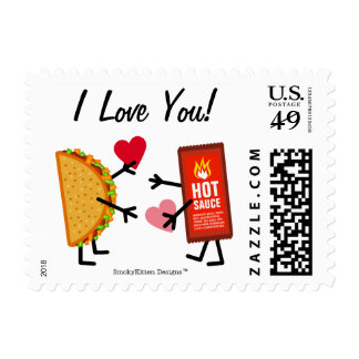 ¡Taco y salsa caliente - te amo! (personalizable) Sello Postal