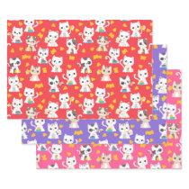 Tacocat Burrito and Taco Cats Cute Birthday Party Wrapping Paper Sheets