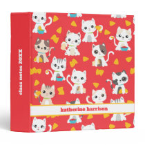 Tacocat Burrito and Taco Cats Cute Personalized 3 Ring Binder