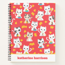 Tacocat Burrito and Taco Cats Cute Personalized Notebook