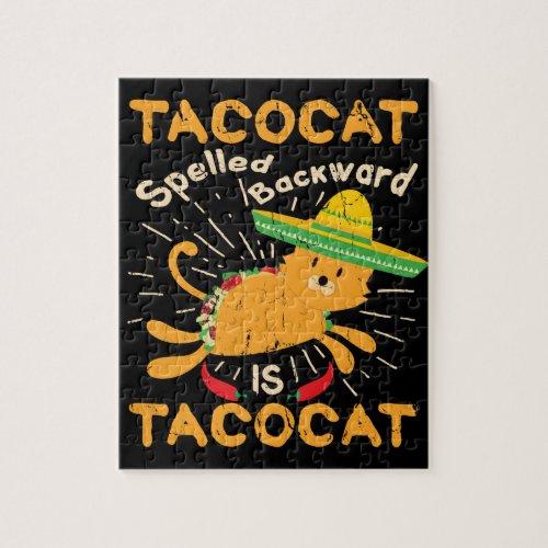 Tacocat Graphic Cinco de Mayo Cat Taco Jigsaw Puzzle