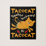 Tacocat Spelled Backwards Cinco de Mayo Cat Taco Jigsaw Puzzle