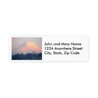 Tacoma and Mount Rainier Alpenglow Photo Return Address Label