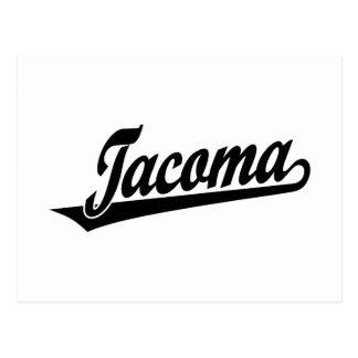 Tacoma script logo in black distressed postcard