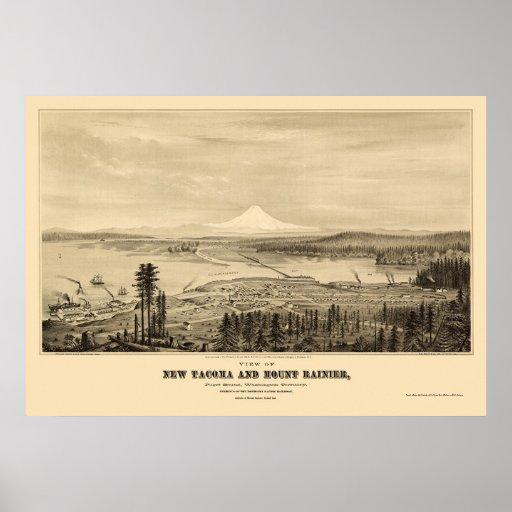 Tacoma, WA Panoramic Map - 1878 Poster