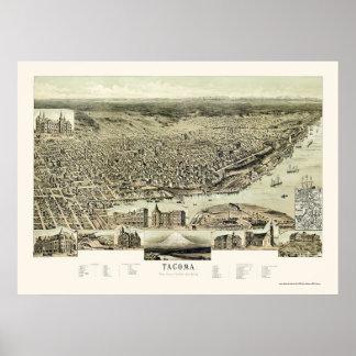 Tacoma, WA Panoramic Map - 1890 Poster