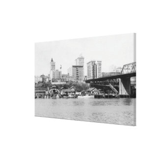 Tacoma, WA - Skyline View of Downtown Canvas Print
