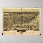Tacoma Washington 1890 Antique Panoramic Map Poster