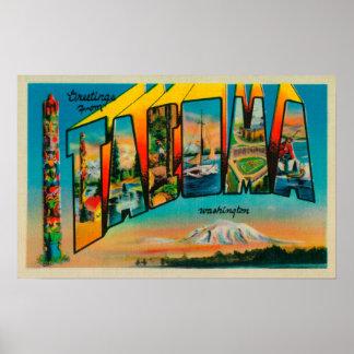 Tacoma, Washington - Large Letter Scenes Poster