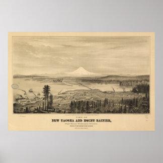 Tacoma y el Monte Rainier, impresión 1878 Impresiones