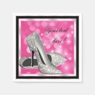 Tacón alto de plata rosado elegante del brillo servilletas de papel