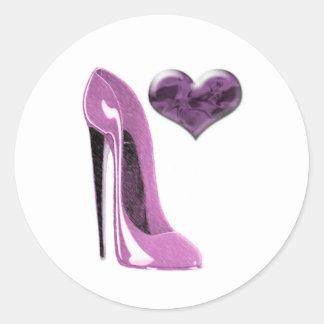 Tacón alto del zapato del estilete de la mora y pegatina redonda
