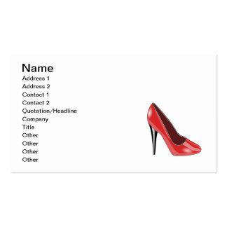 Tacón alto rojo plantillas de tarjetas personales