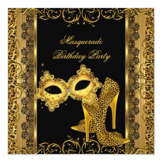 """Tacones altos 2 de la máscara del leopardo del oro invitación 5.25"""" x 5.25"""""""