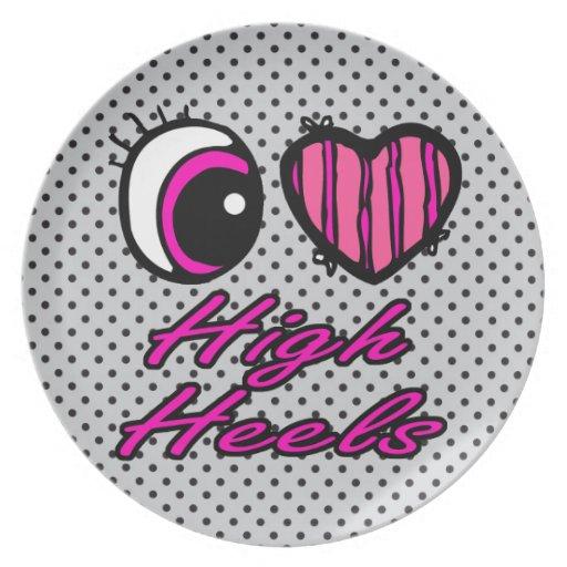 Tacones altos del amor del corazón I del ojo de Em Plato Para Fiesta