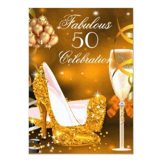 Tacones altos fiesta anaranjado 3 de 50 del oro invitación personalizada