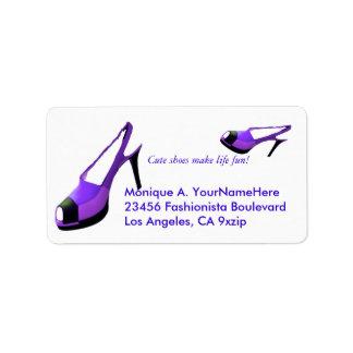 Tacones altos lindos de la púrpura de los zapatos etiquetas de dirección