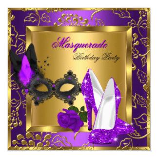"""Tacones altos negros púrpuras del brillo del oro invitación 5.25"""" x 5.25"""""""