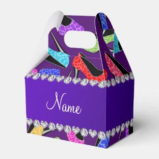 Tacones altos púrpuras conocidos de encargo del caja para regalo de boda