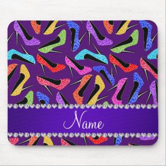 Tacones altos púrpuras conocidos de encargo del tapete de ratón