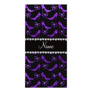 Tacones altos púrpuras personalizados del brillo d tarjetas fotográficas personalizadas