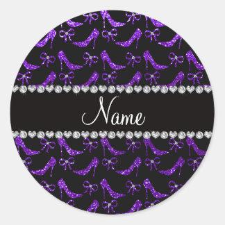 Tacones altos púrpuras personalizados del brillo pegatina redonda